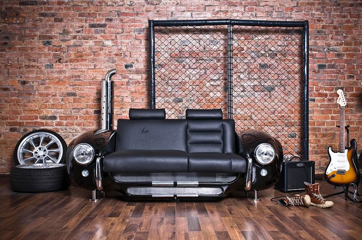 Vintage automobile parts from the 60's, polished and repurposed into fine classic furniture pieces.