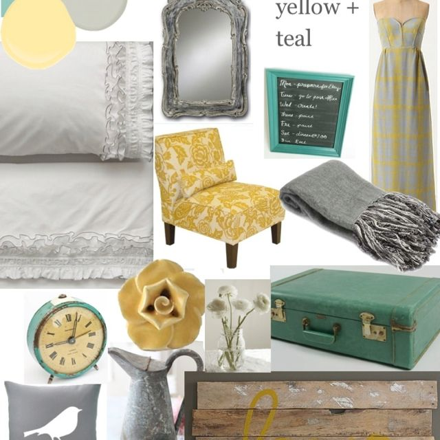 Grey teal and yellow bedroom.  Like this color combo for living room also.