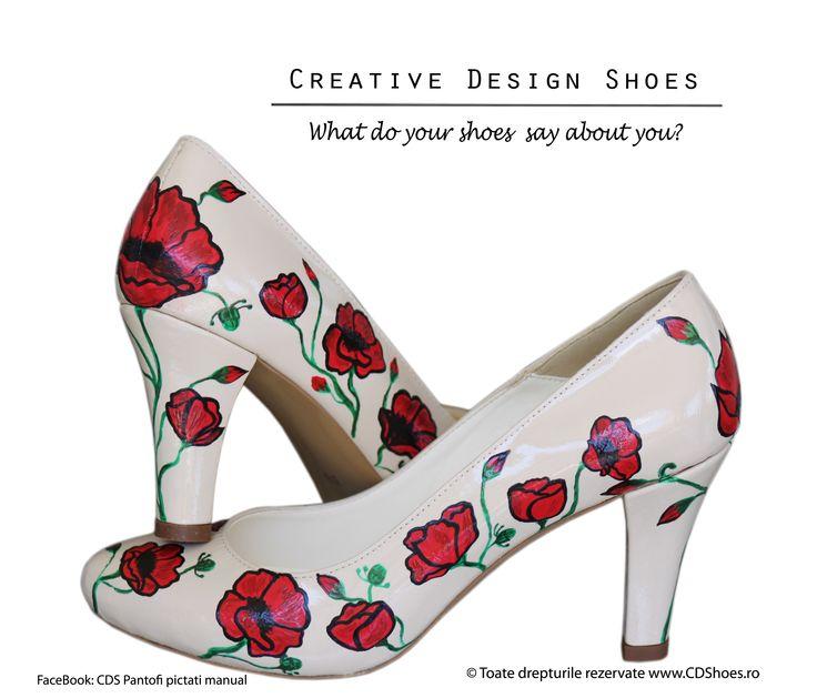 Poppies Blossom - Pantofi pictați manual