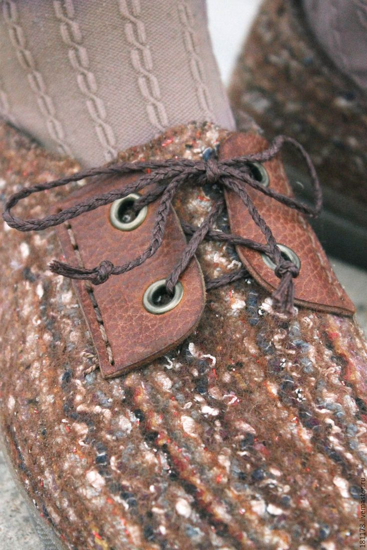 """Купить Теплые туфли-дерби """"Бурундуки"""" - коричневый, пестрый, рыжий, бежевый, натуральные материалы, дерби"""