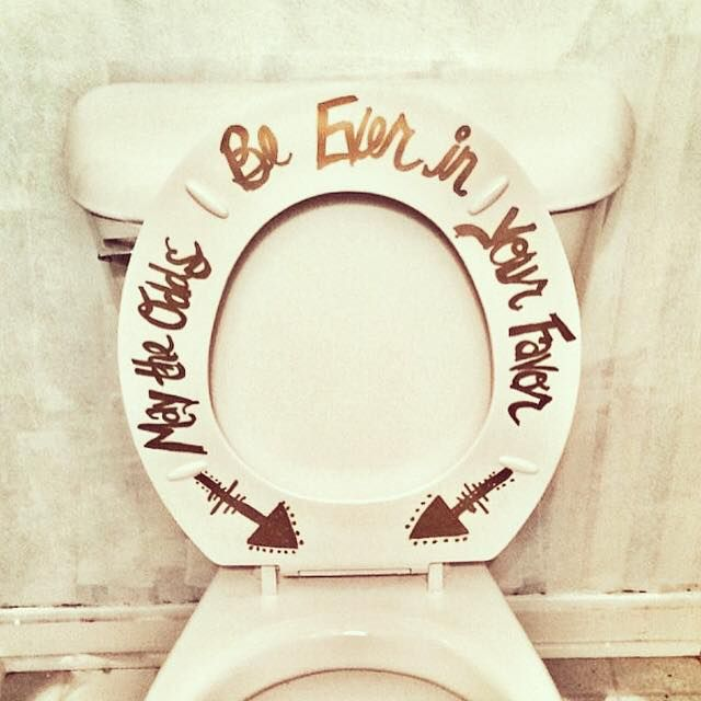 DIY Half Bathroom makeover. You have to have fun with your house and décor. So I added this every so popular (my favorite) quote to the inside of the toilet seat. I love that my guests will giggle when they see this.