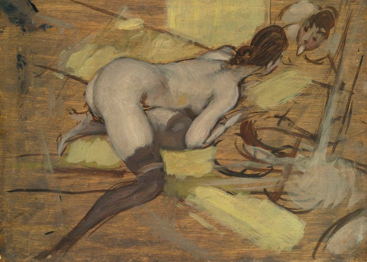 """""""Sola con lo specchio (Nu aux basnoirs)"""", oil on panel  , 27x 35 cm , Sold for 161.000 $ by Sotheby's , May 2014 . La modella che si osserva giocosamente ,facendosi infantili linguacce,  davanti allo specchio ,  potrebbe  ricordare la sua mediterranea  amante, la contessa Gabrielle de Rasty."""