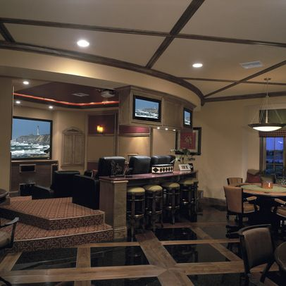 A Beautiful Home Theater With A Bar And Dining Area Our