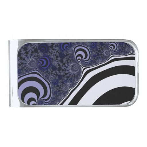 Blue and black striped fractal. silver finish money clip #moneyclip #customized, personalized, artwork, buy, sale, #giftideas, #zazzle, shop, discount, deals, gifts, shopping, abstract, antenna, art, artwork, bee, black, #blue, bright, cold colors, computer, cool colors, duotone, #fractal, fractal art, fractal artwork, generated, illustration, julia, light, locator, mandelbrot, pattern, paw, square, striped, suction, white, strip, dark, funny strips, modern