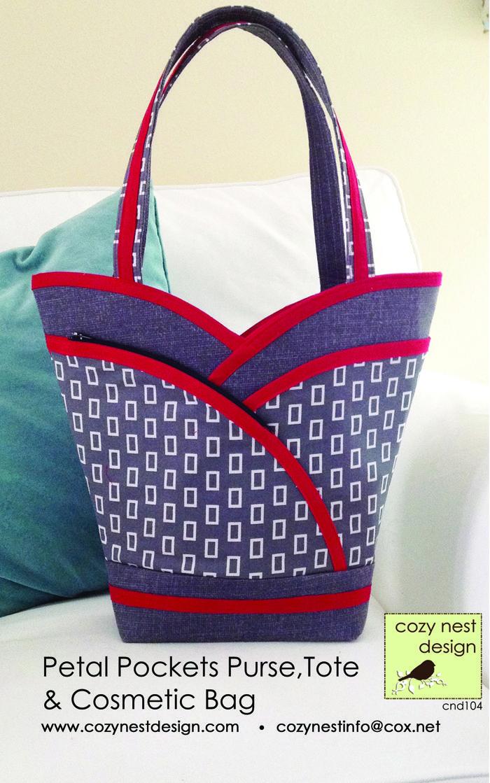 The Petal Purse Tote & Cosmetic Bag Pattern CND-104 (intermediate, bag, tote & purse)