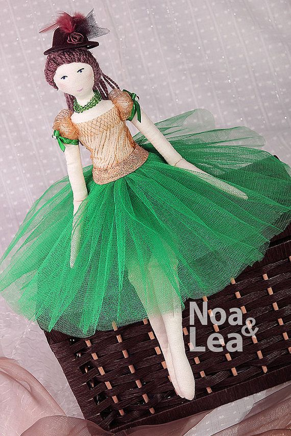 Hollie - Tilda inspired Doll, Elegant Lady Doll, green tulle skirt, hat, Shabby Chic, Tall Doll, green & brown, brown hair, fashion doll