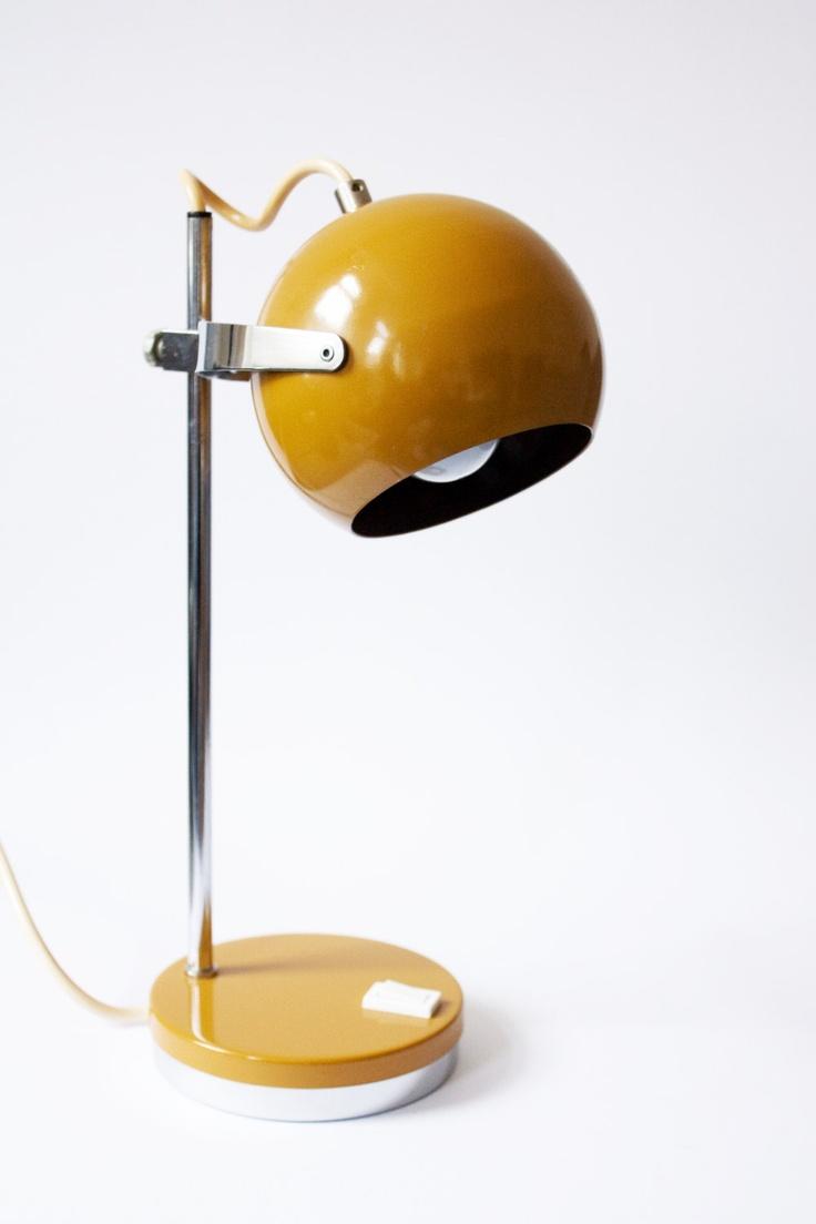 Lampe 70er senfgelb sputnik kugel bowl lamp chrom €3000 via etsy