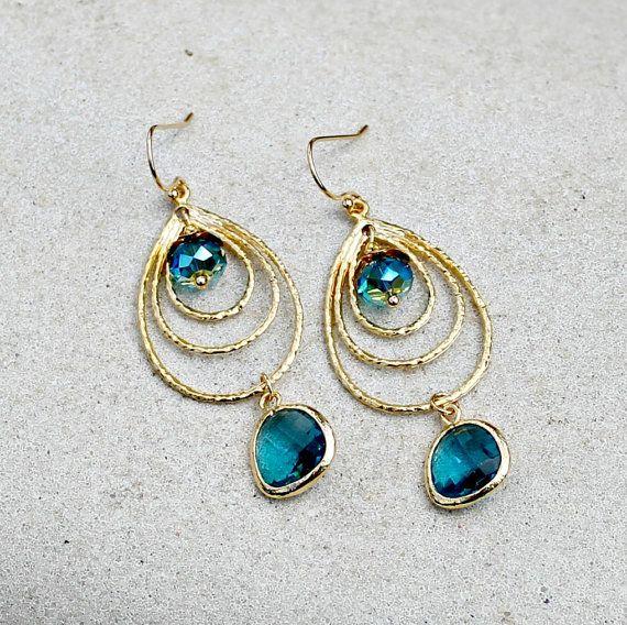 Gold Chandelier Earrings, Teal Jewel, Teardrop, Wedding, Bohemian, Peacock Blue