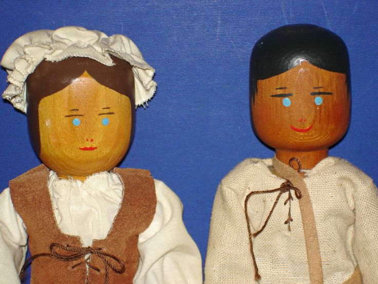 Peg Wooden Johnny Appleseed Lady Dolls by Louise Wilbur