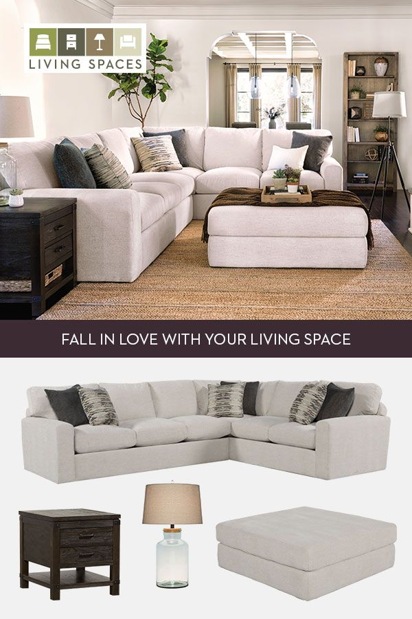 Bowen Sectional Ottoman This Cream White Sectional Is Spacious Enough For Sprawling Out With Deep D Home Living Room Ottoman In Living Room Rooms Home Decor