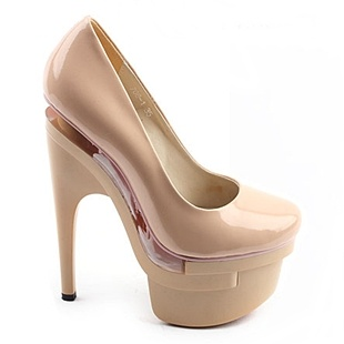 [SHOESONE.BIZ] 5016  Unique Romantic Leather Beige Platform Pumps (17cm) [BLACK LABEL]