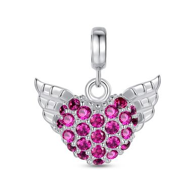 Magenta Wings of Heart Charm