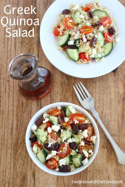 Greek-Quinoa-Salad-Two-Peas-and-Their-Pod1: Feta Cheese, Kalamata Olives, Salad Recipes, Olive Oils, Food, Two Pease And Their Pods, Grape Tomatoes, Greek Quinoa Salad, Red Wines