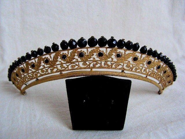 Diademe XIXe VERMEIL ARGENTperles deuil peigne tiare couronne bijoux hair comb | eBay