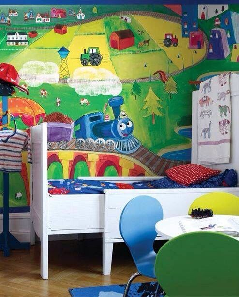 Cute boys bedroom with wall painting.