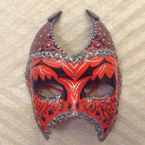 "Venetian costume female devil mask , handmade, wearable, wall decoration, in black red n silver ""Red Venetian She Devil mask"", masquerade by EthnicDrops on Etsy https://www.etsy.com/listing/270298426/venetian-costume-female-devil-mask"