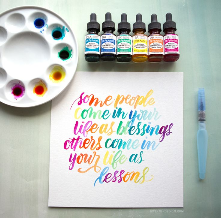 Watercolor Lettering with Dr. Ph. Martin's Radiant Concentrated Water Color. Tutorial by Kristina Werner!
