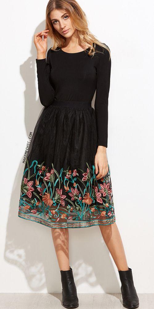 Black Flower Embroidered Mesh Skirt