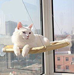 Pet Cat Hammock Window Perches Bed, OWIKAR Cat Window Perch Window Seat Suction Cups Space Saving Cat Hammock Pet Resting Seat Safety Cat Shelves for Cats Weighted up to 20KG/44lb