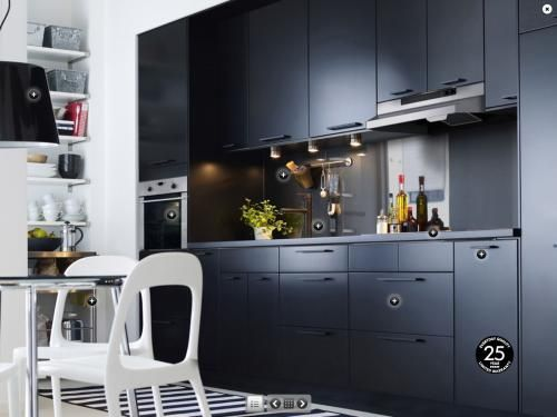cuisine ikea noir mat decoration interiors and kitchens. Black Bedroom Furniture Sets. Home Design Ideas