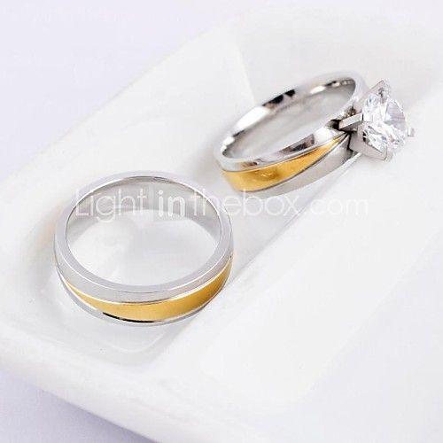 Anéis,Anéis de Casal,Jóias Casamento / Pesta / Diário / Casual Aço Titânio Prateado5 / 6 / 7 / 8 / 9 / 10 Casal - USD $15.59
