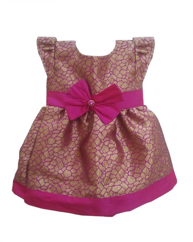 #kidsfrocks #kidspattufrocks Pink with Blue Pattu Frocks only at www.bujuma.com