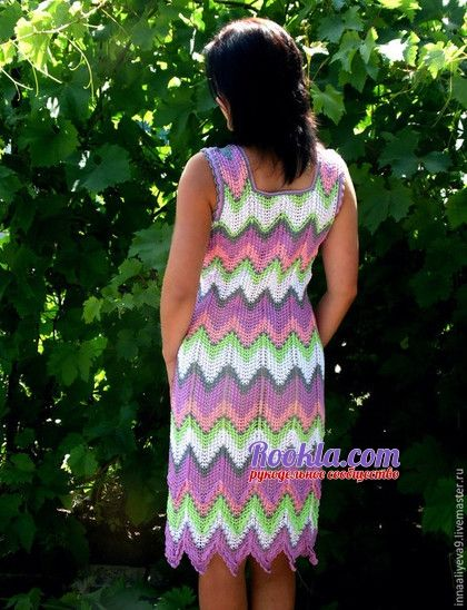 Разноцветное платье. Работа Inna Aliyeva вязание и схемы вязания