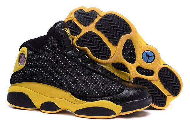 dfe53b2f985 New Air Jordan 13 XIII Carmelo Anthony Nuggets Away PE Black University  Yellow Size Euro 41