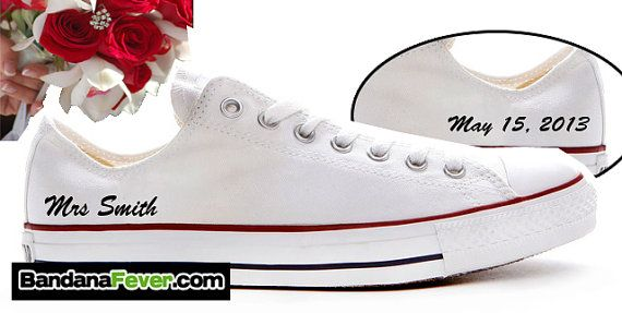 Converse Low White Personalized Bride Sides  by BandanaFeverShoes
