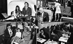 From Marilyn Monroe posing for photographers at New York LaGuardia Airport, to legendary British rock band Led Zeppelin preparing spirits at the bar, it really was the golden age of flying.