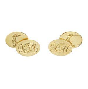 LOT:815   A pair of 18ct gold cufflinks.