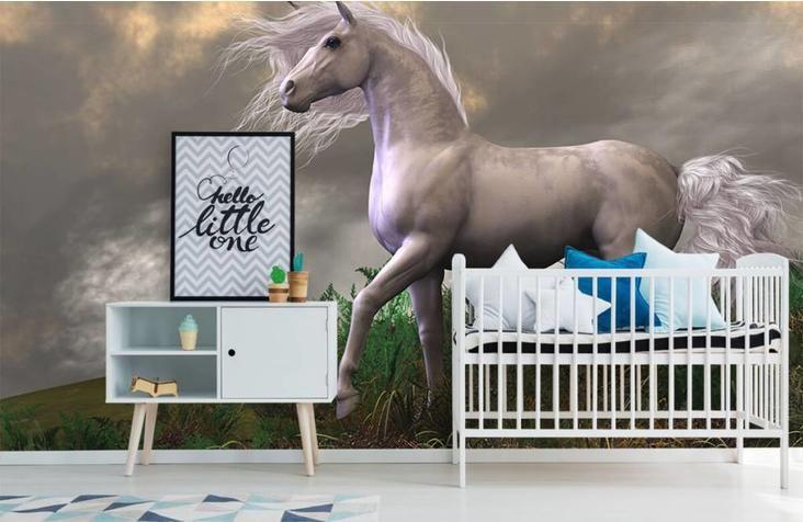 Paarden Behang Posterbehang.Een Prachtige Witte Eenhoorn Hengst Op Fotobehang Maakt Van