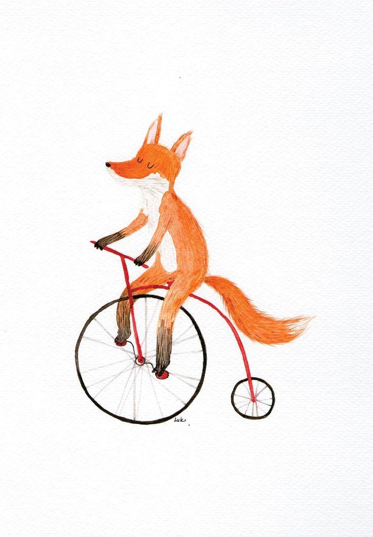 Greeting card - Fox on a bike. $4.00, via Etsy.