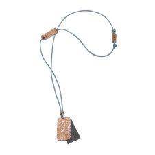 Duurzame ketting gemaakt uit gerecycled koper en leer Naamketting | Gepersonaliseerde ketting B29-K-B