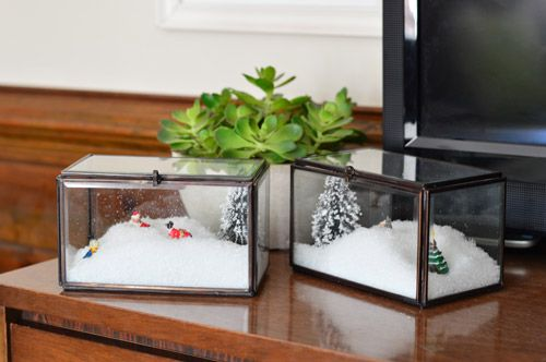 DIY snow boxes. So cute & festive! Plus they're easy to change out year to year | Young House Love