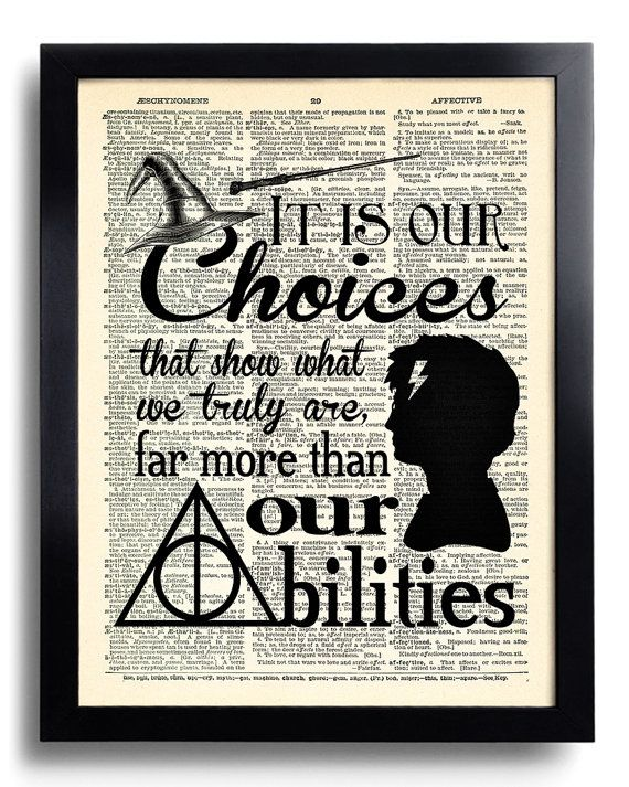 Harry Potter It is our choices that Quote Harry Potter POSTER, Print on DICTIONARY Paper, Harry Potter Kid Room Decor, Book Page print 524