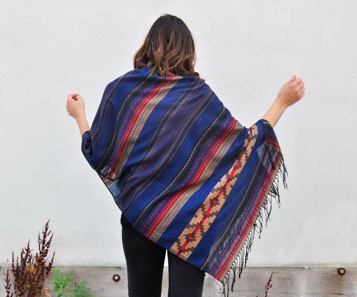 Draped Shawl - Royal Blue Southwest Navajo Print Pashmina  Poncho Shawl Scarf, Outerwear by HalinaShearmanDesign on Etsy