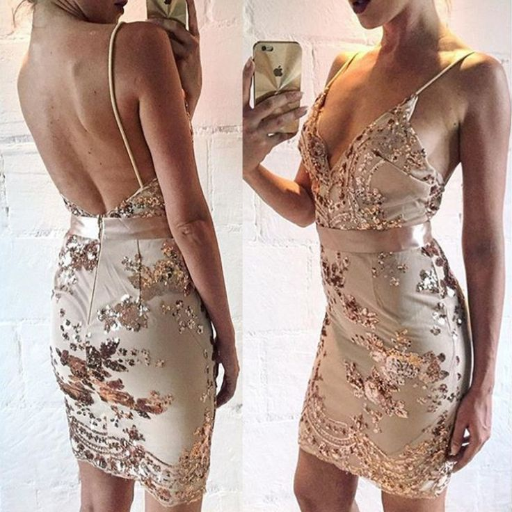 Homecoming Dress, Cocktail Dress, Sequin Dress, Nude Dress, V Neck Dress, Open Back Dress, Fitted Dress, Sequin Cocktail Dress, Nude Sequin Dress, Open Back Cocktail Dress