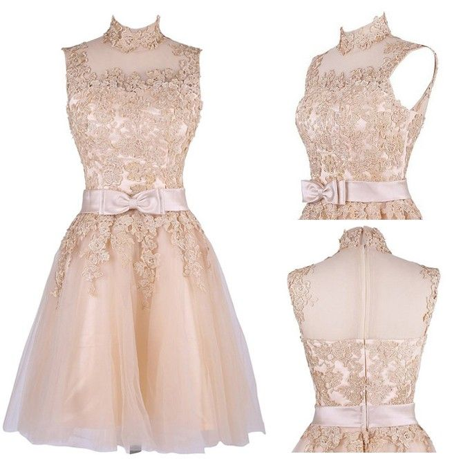 Classy Knee Length A-Line High Neck Champagne Homecoming Dress With Appliques