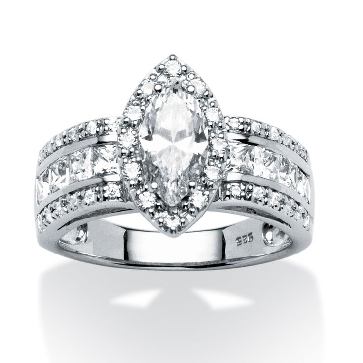 2.02 TCW Marquise-Cut Cubic Zirconia Ring in Platinum Over Sterling Silver at PalmBeach