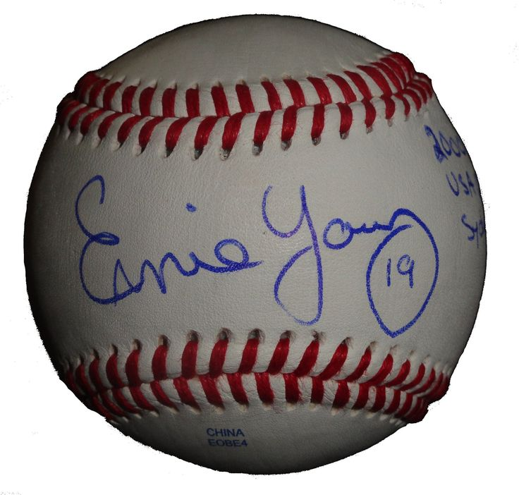 Ernie Young Autographed Rawlings ROLB1 Leather Baseball w