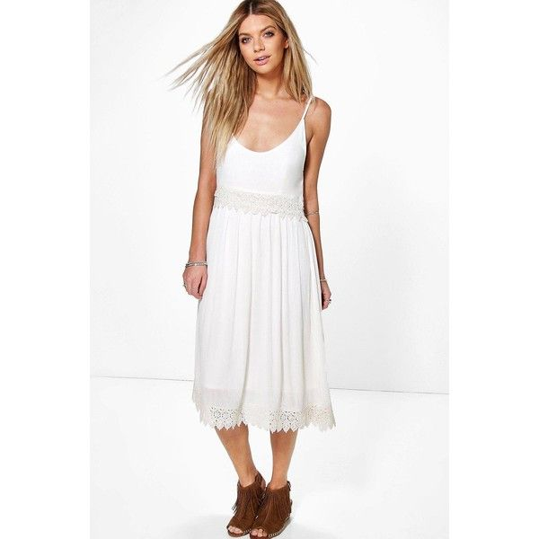 Boohoo Mary Crochet Insert Strappy Midi Dress (1,045 INR) ❤ liked on Polyvore featuring dresses, white bodycon dress, midi cocktail dress, white cocktail dress, special occasion dresses and white cami dress