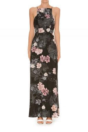 RESTLESS HEART MAXI DRESS black layered floral