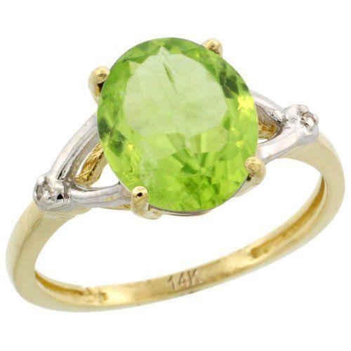 Revoni 14 Karat Gelbgold Peridot und Diamant Ring, Oval Stein (10x8 mm) Größe 59