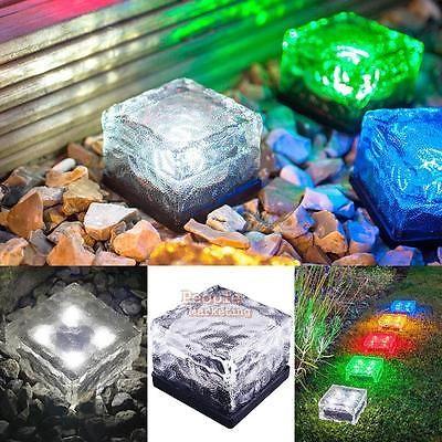 Solar LED Outdoor Lawn Deck Crystal Brick Light Waterproof Garden Yard Path Lamp