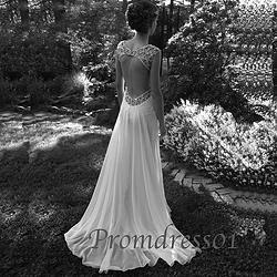 #promdress01 prom dresses - Elegant backless white chiffon V-neck long prom dress, custom made wedding dress, ball gown #coniefox #2016prom