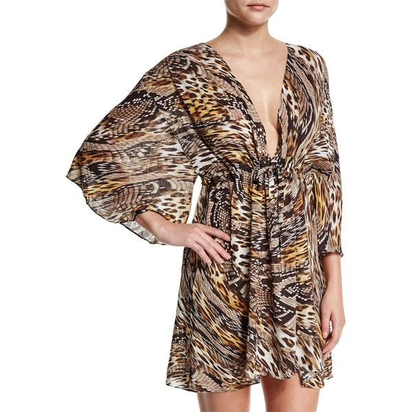 Gottex Sahara Animal-Print Beach Dress Coverup ($228) ❤ liked on Polyvore featuring swimwear, cover-ups, golden leopard, caftan swim cover up, swim suit cover up, silk kaftan, beach cover up and leopard swimsuit