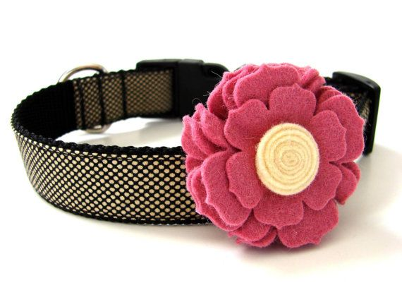 Add a Felt Flower to Your Dog Collar 12 colors by Dogologie, $6.00
