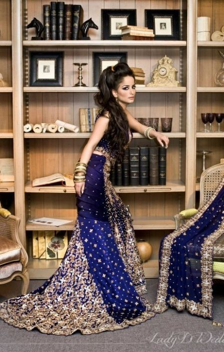 royal blue indian wedding dress