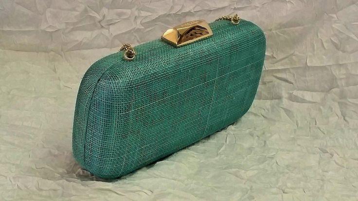Olga Berg Evening Bag, Fern Green Hard Case, Pod Style, Golden Chain
